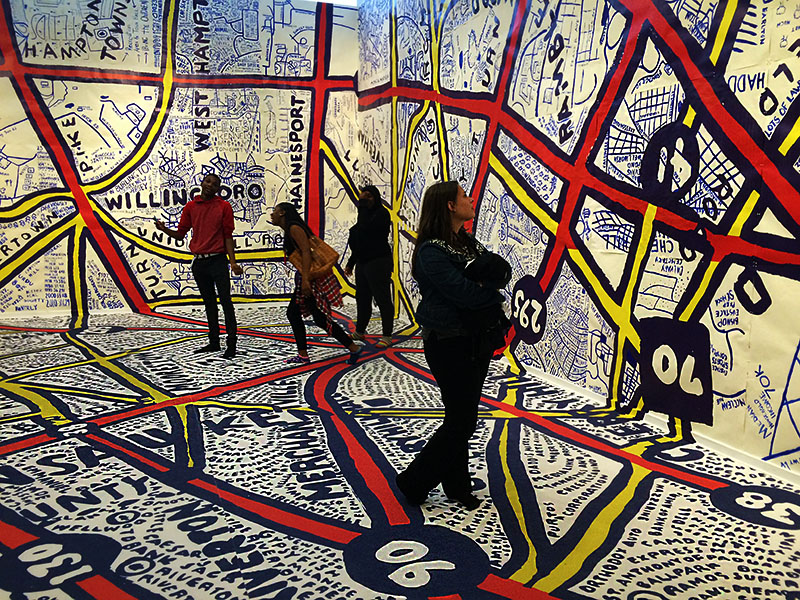 "Geography & Urban Studies Interns View Tyler School of Art's ""Paula Scher & Keith Hartwig: Philadelphia Explained,"" Exhibit to Get them Excited About Mapping"